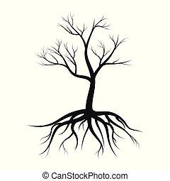 silueta, folhas, árvore, ilustração, sem, vetorial, fundo, branca, raizes