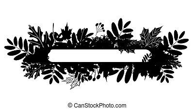 silueta, folhas, outono, desenho, quadro, seu