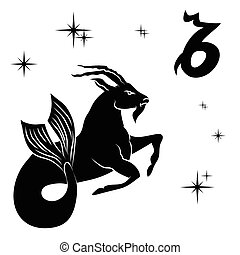 silueta, fondo., capricornio, negro, blanco