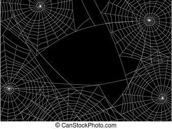 silueta, fondo., tela de araña, halloween