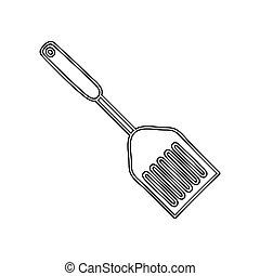 silueta, fritar, espátula, utensílio, cozinha