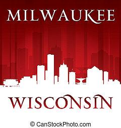 silueta, fundo, skyline, cidade, wisconsin, vermelho, milwaukee