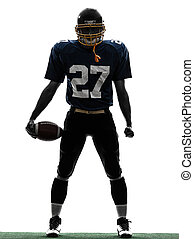 silueta, futbolista, norteamericano, quarterback, hombre