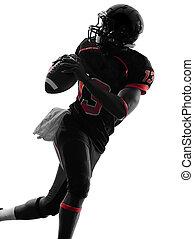 silueta, futbolista, norteamericano, retrato, quarterback