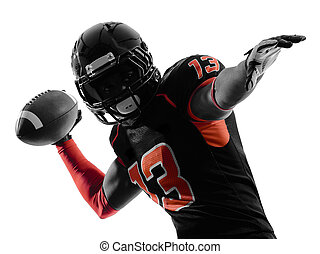 silueta, futebol, um, jogador, americano, sombra, fundo, retrato, branca, passagem, quarterback