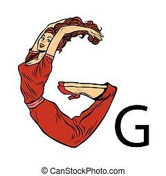 silueta, g, pessoas negócio, alfabeto, gee., letra