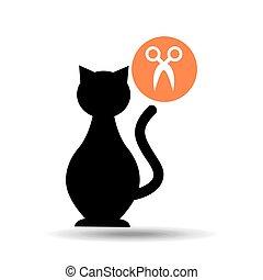 silueta, gato, mascota, tijeras, icono