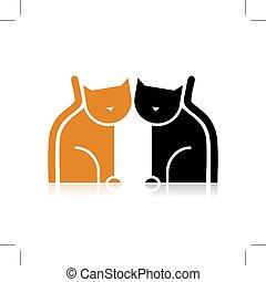 silueta, gatos, diseño, su