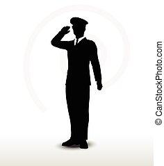 silueta, gesto, general, saludar, mano, ejército