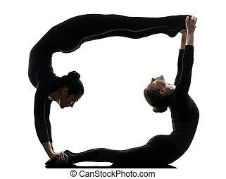 silueta, gimnástico, ejercitar, dos, yoga, contorsionista, mujeres