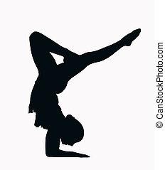 silueta, gimnasta, -, estante, hembra, deporte, brazo