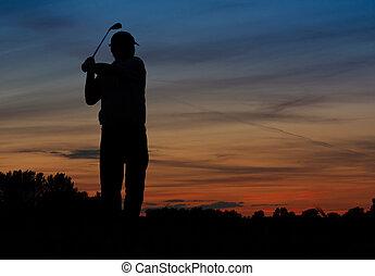 silueta, golfing