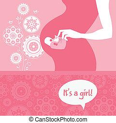 silueta, grávida, bootees., bebê, saudação, recem nascido, mãe, bebê, cartão