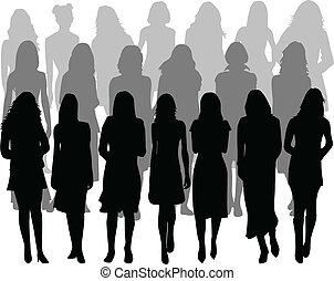 silueta, -, grande, vector, grupo, mujeres