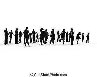 silueta, grupo de las personas