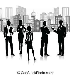 silueta, grupo, negócio