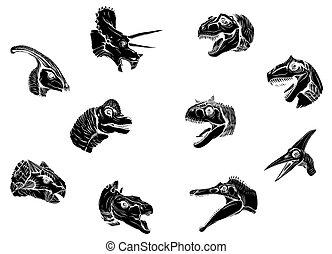 silueta, grupo, negro, vector, fondo blanco, dinosaurios