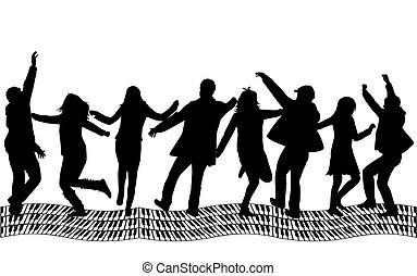 silueta, -, grupo, pessoas