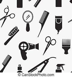 silueta, hairdressing, ferramentas, em, seamless, padrão