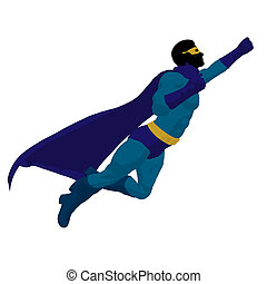 silueta, herói, ilustração, super