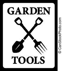 silueta, herramientas, jardín, icono