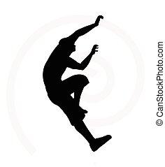 silueta, hombre, 3º edad, ilustración, trepador