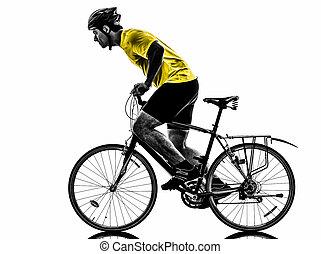 silueta, hombre, bicicleta montaña, el montar en bicicleta