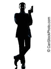 silueta, hombre, longitud completa, agente secreto, en, un,...