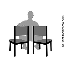 silueta, hombre que sienta, dos, silla
