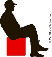 silueta, hombre que sienta, en, un, silla, fondo blanco