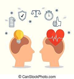 silueta, hombres, cabeza, con, bombilla, idea, y, latido del corazón