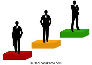 silueta, hombres de negocios