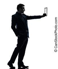 silueta, homem digital, negócio, tabuleta