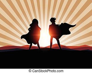 silueta, homem, e, mulheres, superhero, com, sunlight.