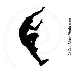 silueta, homem, sênior, ilustração, escalador