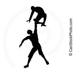 silueta, homens, dois, escaladores, equipe, sênior