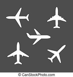 silueta, iconos, avión, diferente, cinco
