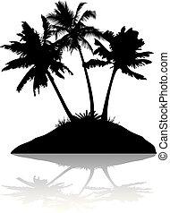 silueta, ilha, árvores, três, fundo, palma, branca, sombra