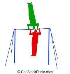 silueta, illustration., atleta, vector, horizontal, bar.