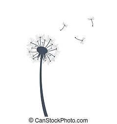 silueta, ilustração, dandelion
