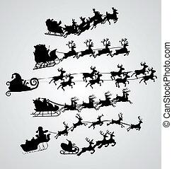 silueta, ilustração, de, voando, santa, e, natal, rena