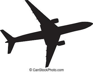 silueta, ilustração, eps, vetorial, pretas, ícone, 10., avião