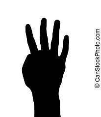 silueta, ilustração, número, mão, quatro, vetorial, pretas, gesto