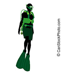 silueta, ilustración, buzo, norteamericano, macho africano, escafandra autónoma