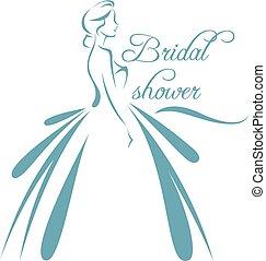 silueta, ilustración, novia, vector, vestido de la boda