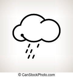silueta, ilustración, vector, nube de lluvia