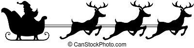 silueta, imagen, claus, santa, digital, sleigh, equitación