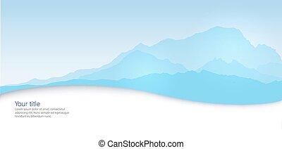 silueta, invierno, mont, vector, bandera, blanc