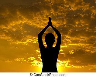 silueta, ioga posa