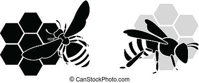 silueta, isolado, abelha, pretas, w